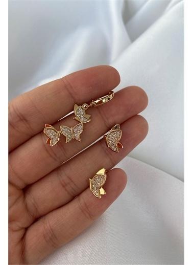 My Joyas Design 3'Lü Kelebek Set Küpe Altın